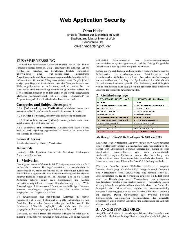 Web Application Security Oliver Hader Aktuelle Themen zur Sicherheit im Web Studiengang Master Internet Web Hochschule Hof...