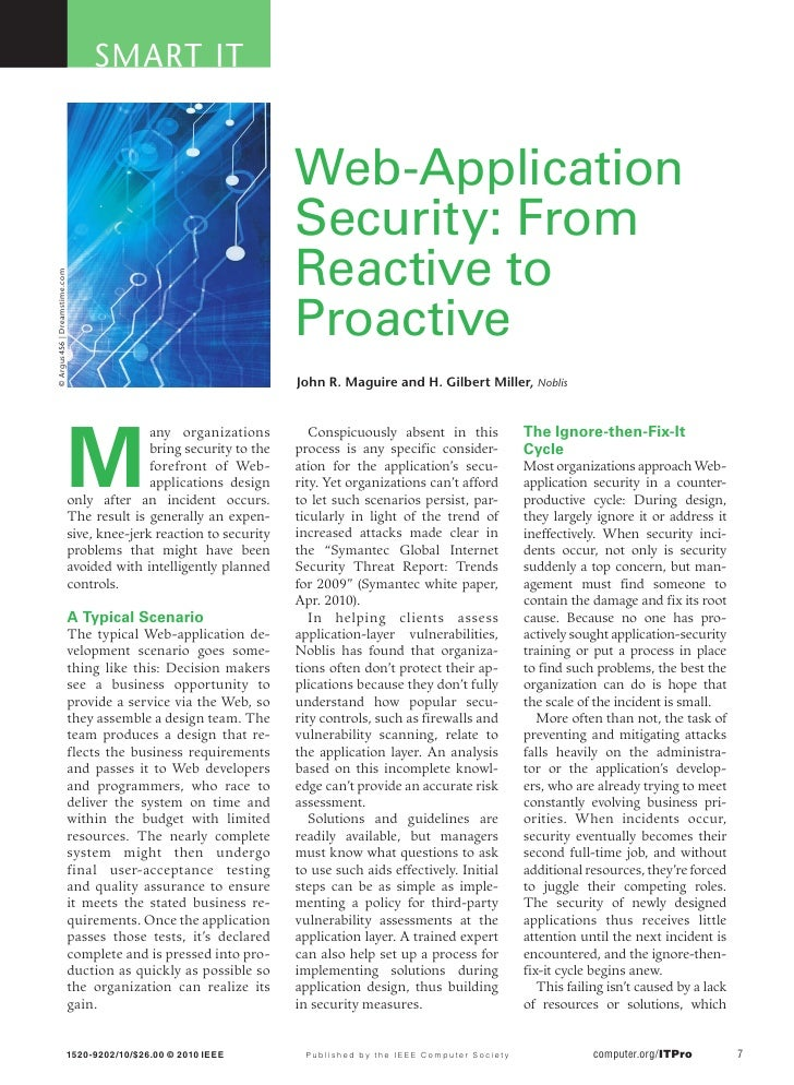 Web application security from reactive to proactive
