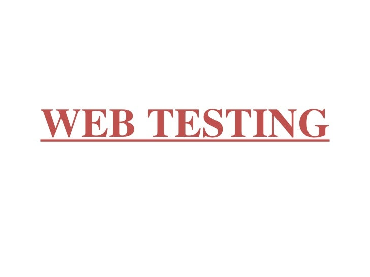 Webapplicationtesting