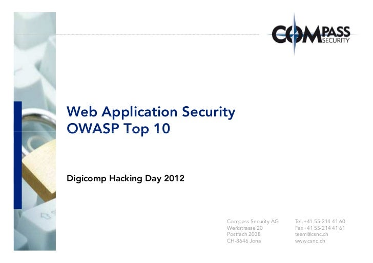 Web app security - owasp top 10