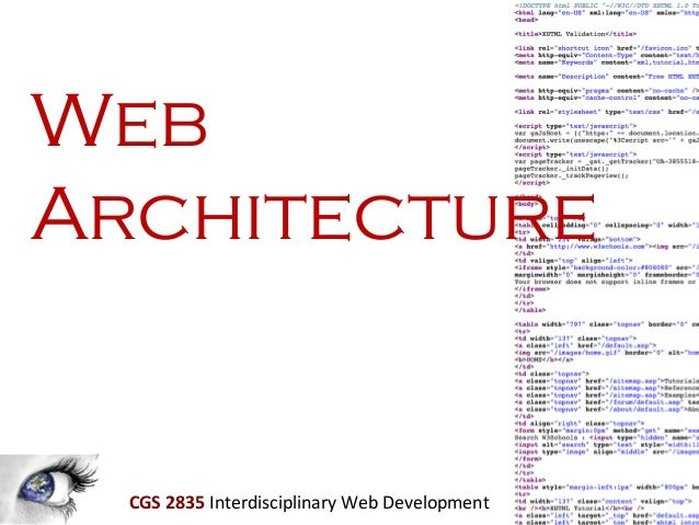 Web Architecture  CGS 2835 Interdisciplinary Web Development