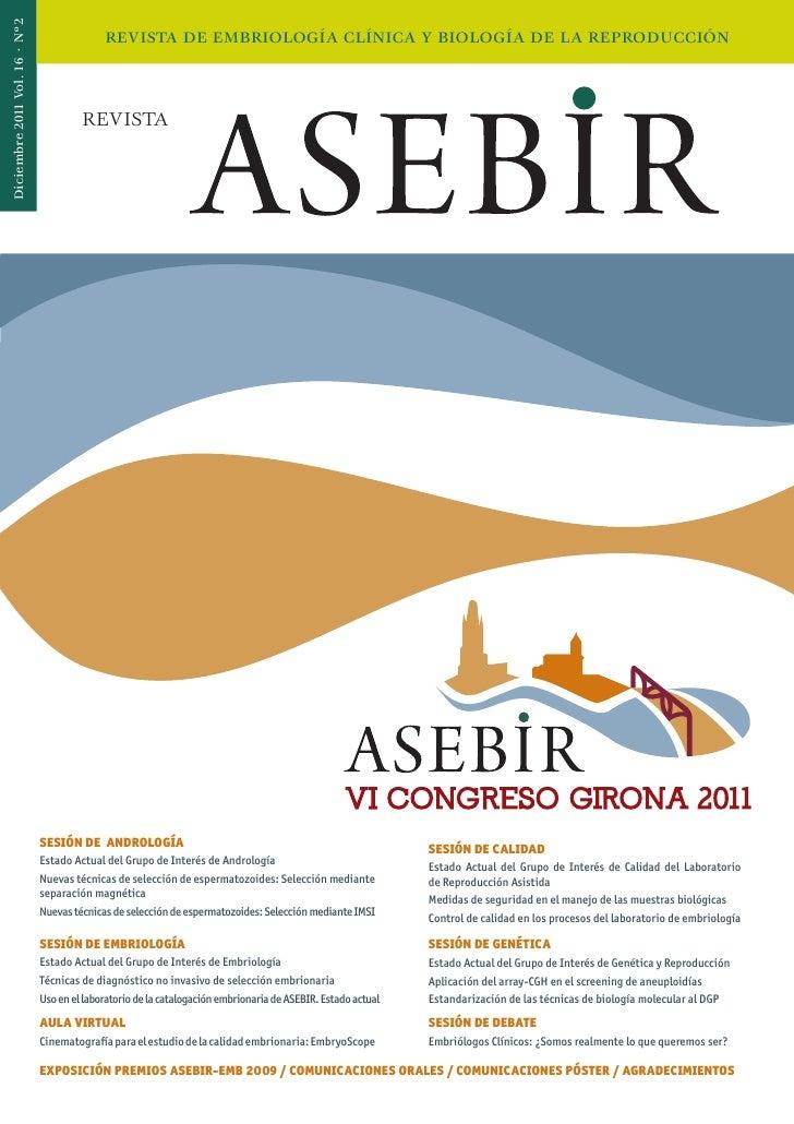 Diciembre 2011 Vol. 16 · Nº2                                             REVISTA DE EMBRIOLOGÍA CLÍNICA Y BIOLOGÍA DE LA R...