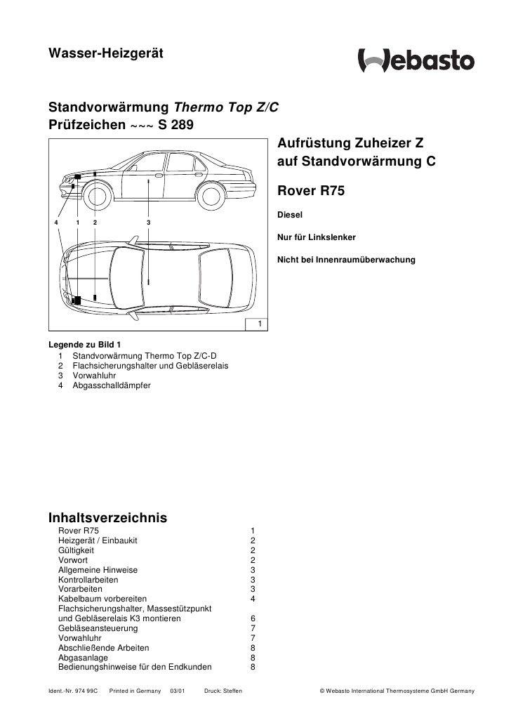 Wasser-Heizgerät   Standvorwärmung Thermo Top Z/C Prüfzeichen ~~~ S 289                               Aufrüstung Zuheizer ...