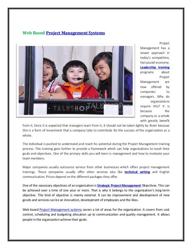 Web based project management systems