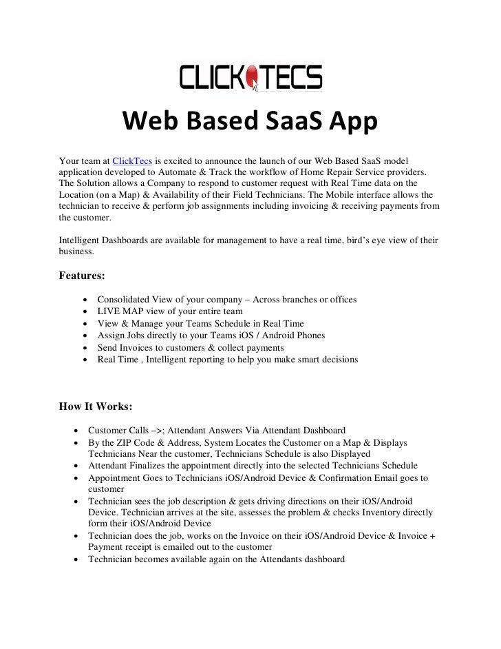 Web Based SaaS AppYour team at ClickTecs is excited to announce the launch of our Web Based SaaS modelapplication develope...