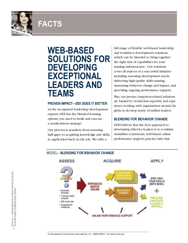 FACTS  WEB-BASED SOLUTIONS FOR DEVELOPING EXCEPTIONAL LEADERS AND TEAMS PROVEN IMPACT—DDI DOES IT BETTER As the recognized...