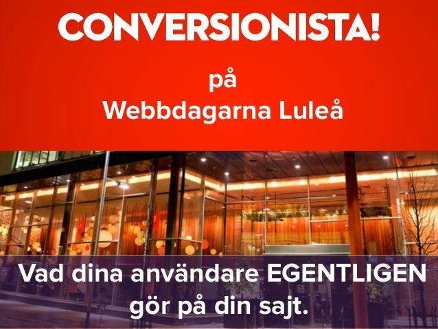 på  Webbdagarna Luleå Vad dina användare EGENTLIGEN gör på din sajt.