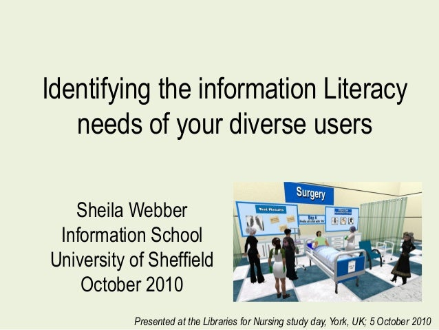 Identifying the information Literacy needs of your diverse users Sheila Webber Information School University of Sheffield ...