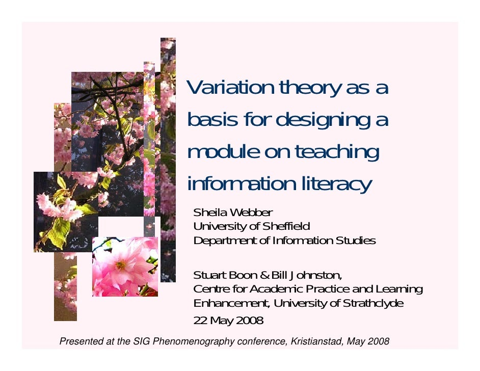 Variation theory as a                            basis for designing a                            module on teaching      ...
