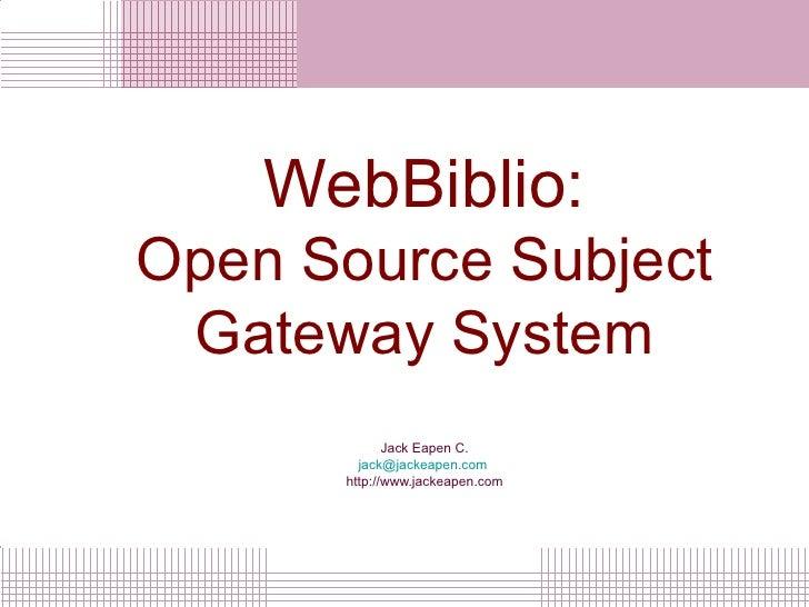 WebBiblio Subject Gateway System