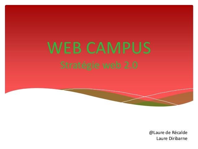 WEB CAMPUS Stratégie web 2.0                     @Laure de Récalde                       Laure Diribarne