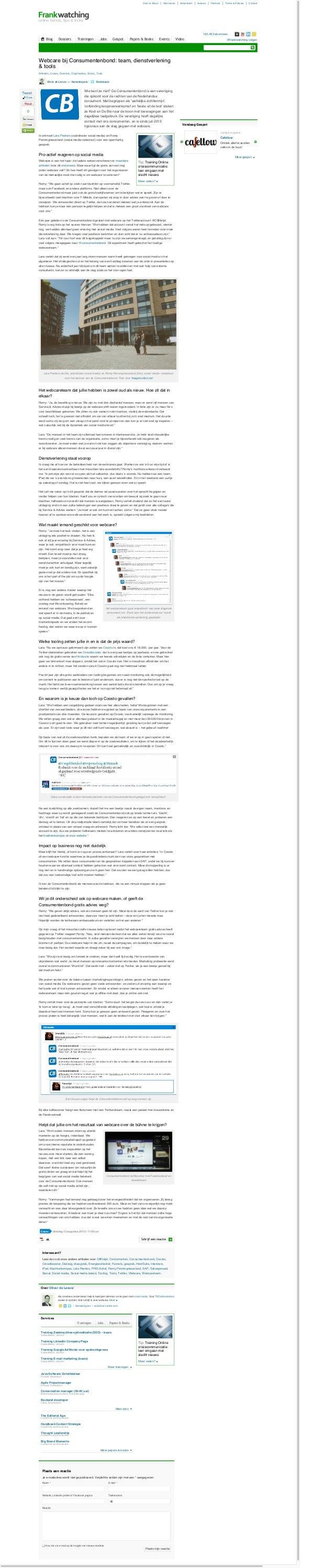 Webcare bij de Consumentenbond: team, dienstverlening & tools -  Artikel door Oliver de Leeuw van Nameshapers op Frankwatching.com