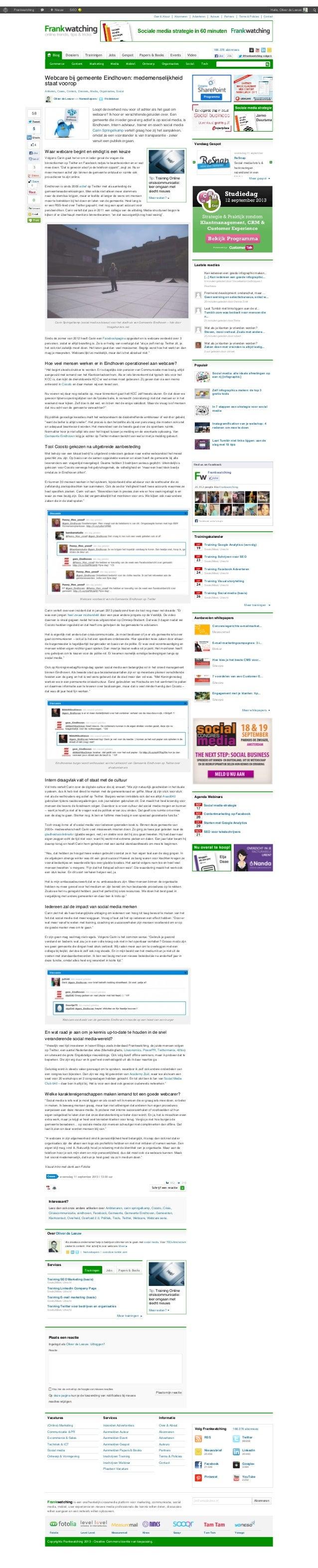 Webcare bij gemeente Eindhoven: medemenselijkheid staat voorop (artikel op Frankwatching)