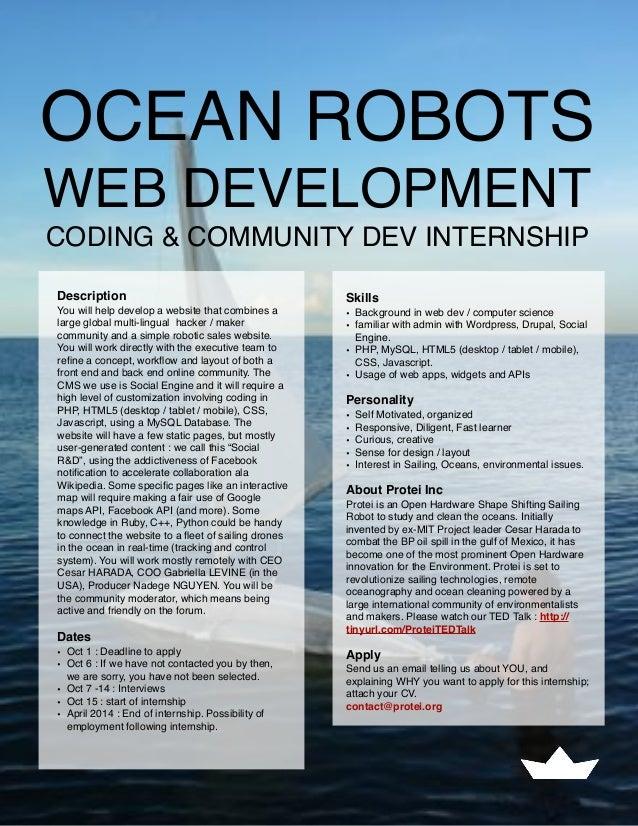 OCEAN ROBOTS WEB DEVELOPMENT CODING & COMMUNITY DEV INTERNSHIP Description You will help develop a website that combines a...