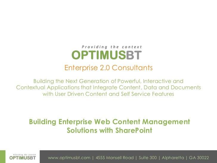 Building Enterprise Web Content Management <br />Solutions with SharePoint<br />
