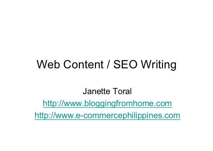 Web Content & SEO Writing by Janette Toral