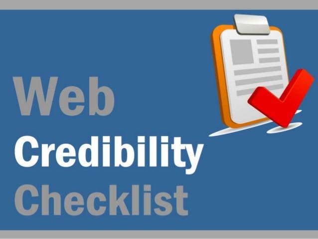 Web Credibility Checklist