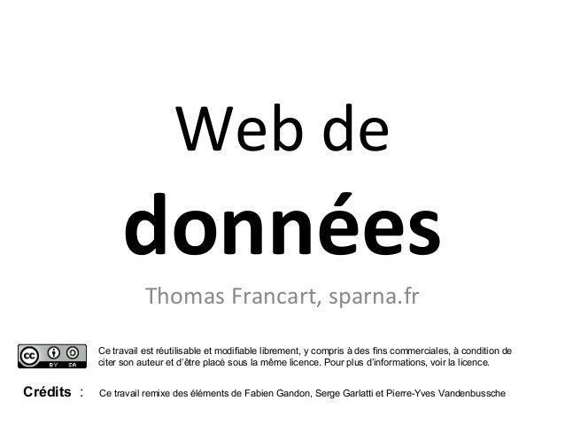 Web de  données Thomas Francart, sparna.fr Ce travail est réutilisable et modifiable librement, y compris à des fins comme...