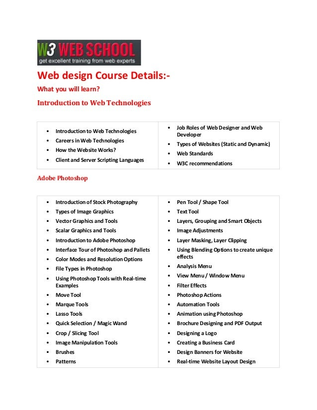 Web design Course Details:What you will learn? Introduction to Web Technologies  •  Introduction to Web Technologies  •  C...