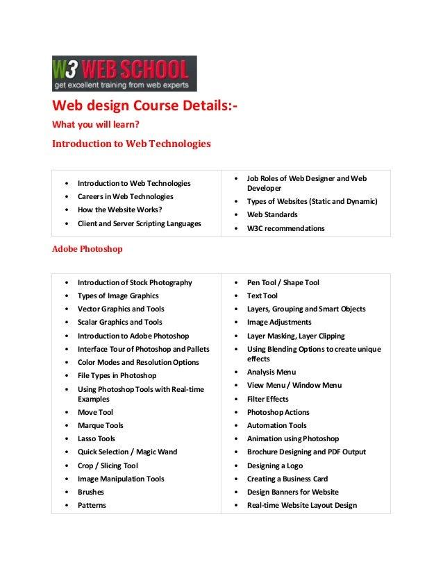 Webdesign training course Details