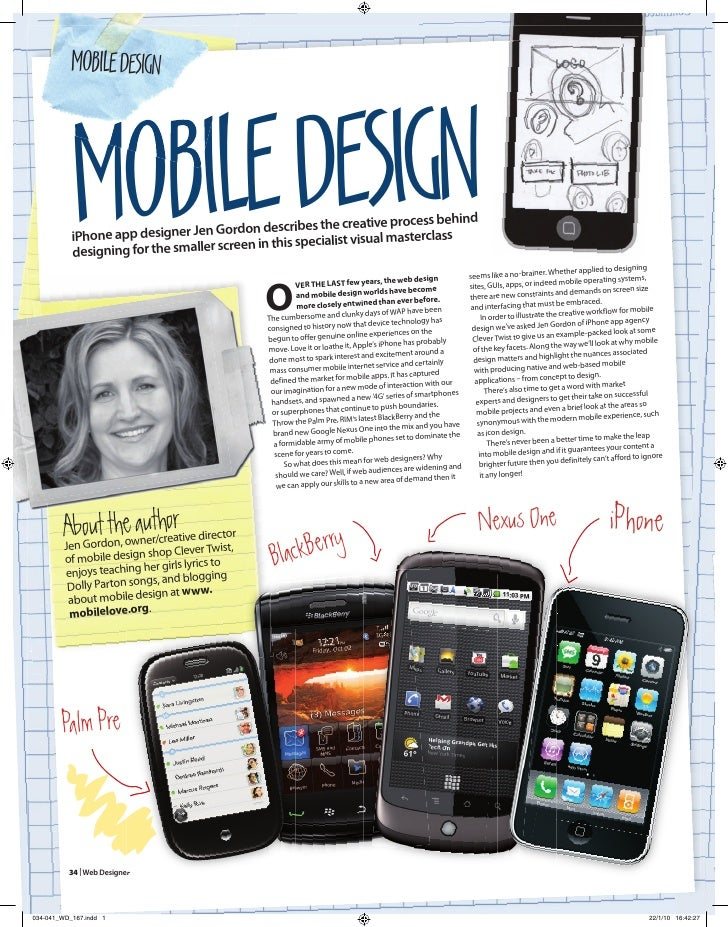 MOBILE DESIGN               MOBILE DESIGN            iPhone ap            desig                     p designer Jen Gordon ...