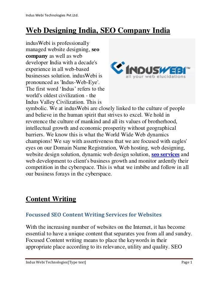 Indus Webi Technologies Pvt.Ltd.Web Designing India, SEO Company IndiaindusWebi is professionallymanaged website designing...
