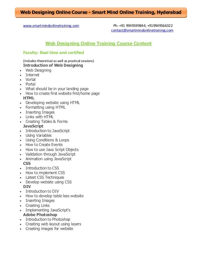 Web Designing Online Course - Smart Mind Online Training, Hyderabad www.smartmindonlinetraining.com  Ph: +91 9949599844, +...