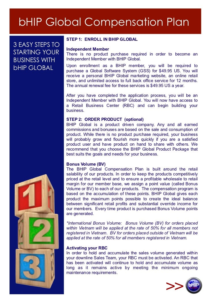 bHIP Global Compensation Plan                  STEP 1: ENROLL IN BHIP GLOBAL3 EASY STEPS TO                  Independent M...