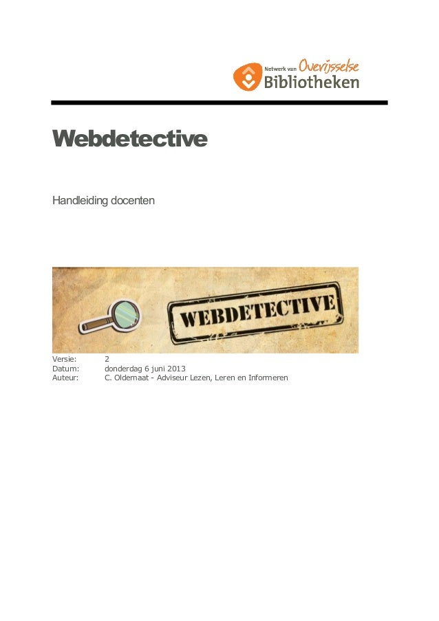 Webdetective handleiding