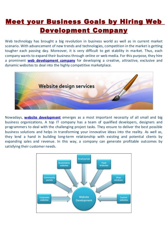 Meet your Business Goals by Hiring WebDevelopment CompanyWeb technology has brought a big revolution in business world as ...