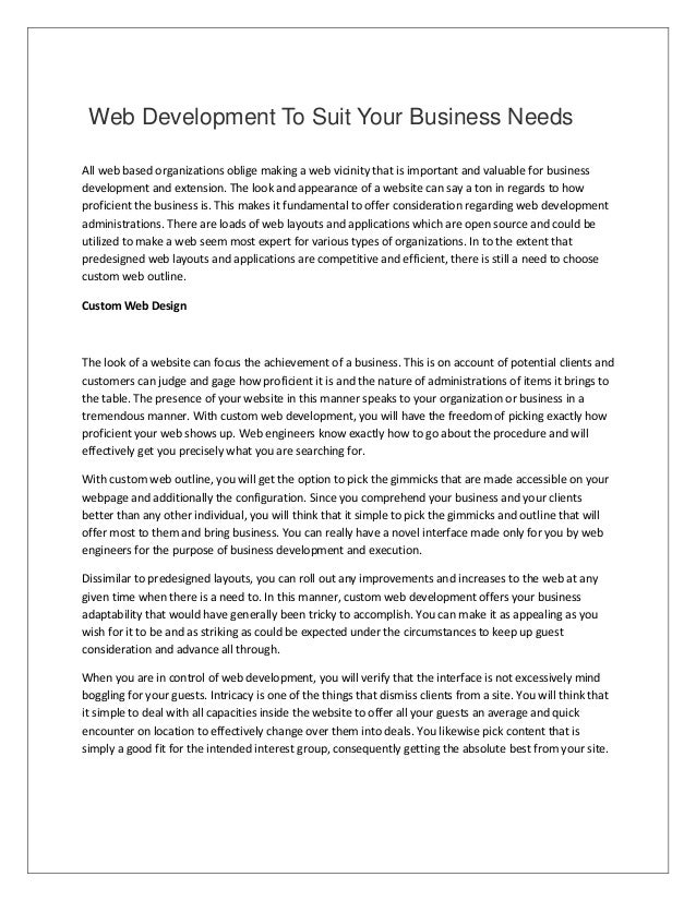 Web development to suit your business needs