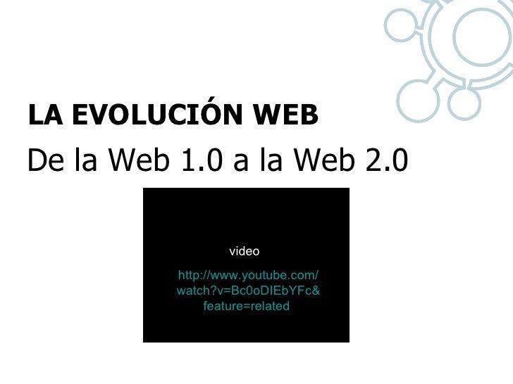 LA EVOLUCIÓN WEB  De la Web 1.0 a la Web 2.0 http:// www.youtube.com / watch?v = Bc0oDIEbYFc & feature = related   video