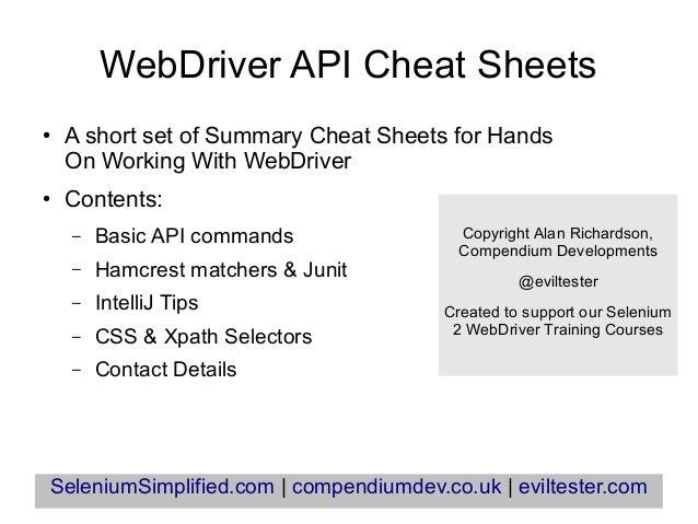 Webdriver cheatsheets Summary Slides