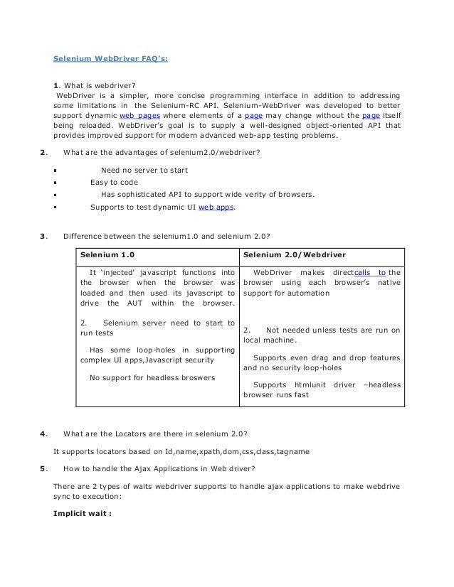 Selenium WebDriver FAQ's