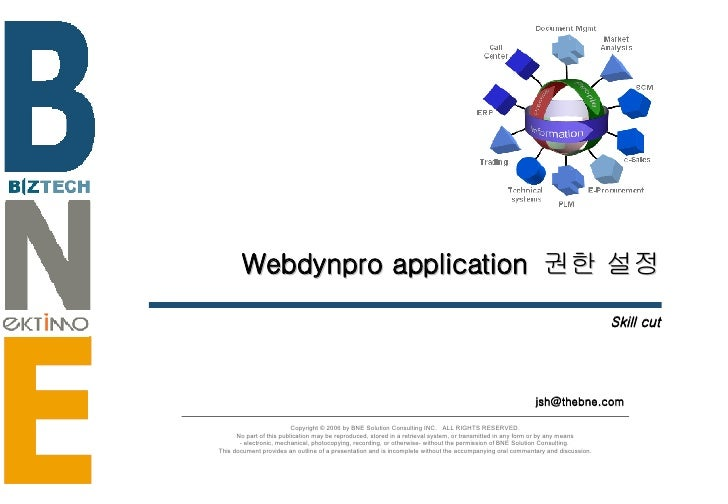 Webdynpro application  권한 설정 Skill cut [email_address] Copyright © 2006 by BNE Solution Consulting INC.  ALL RIGHTS RESERV...