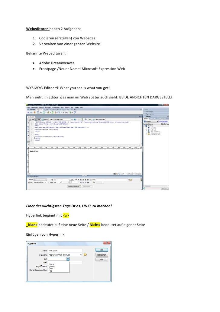 Webeditoren, Html Sites