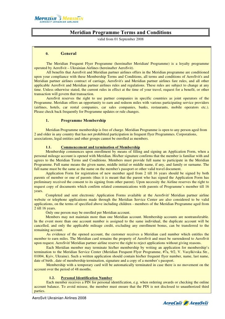 Meridian Programme Terms and Conditions                                            valid from 01 September 2008           ...