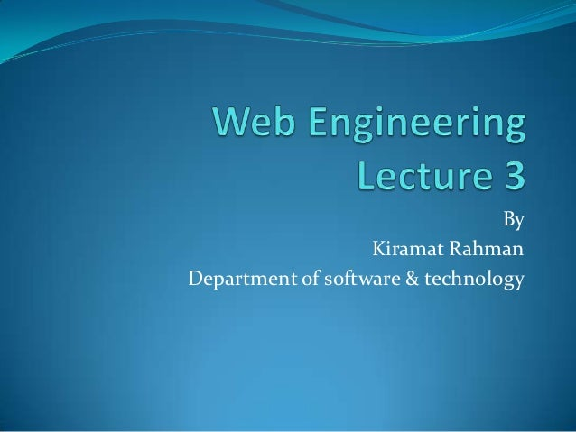 By                   Kiramat RahmanDepartment of software & technology