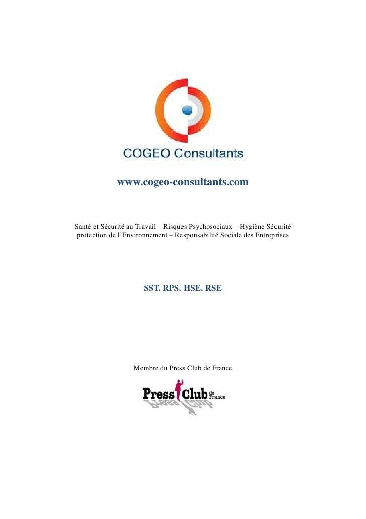 www.cogeo-consultants.comSanté et Sécurité au Travail – Risques Psychosociaux – Hygiène Sécurité protection de l'Environne...