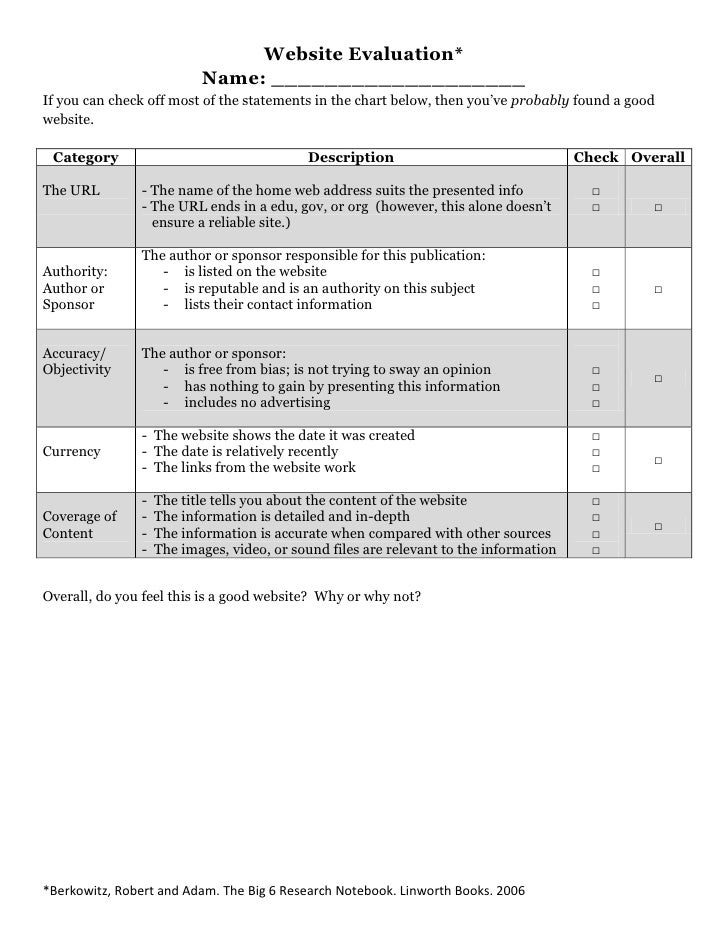 Website Evaluation*<br />Name: ___________________<br />If you can check off most of the statements in the chart below, th...