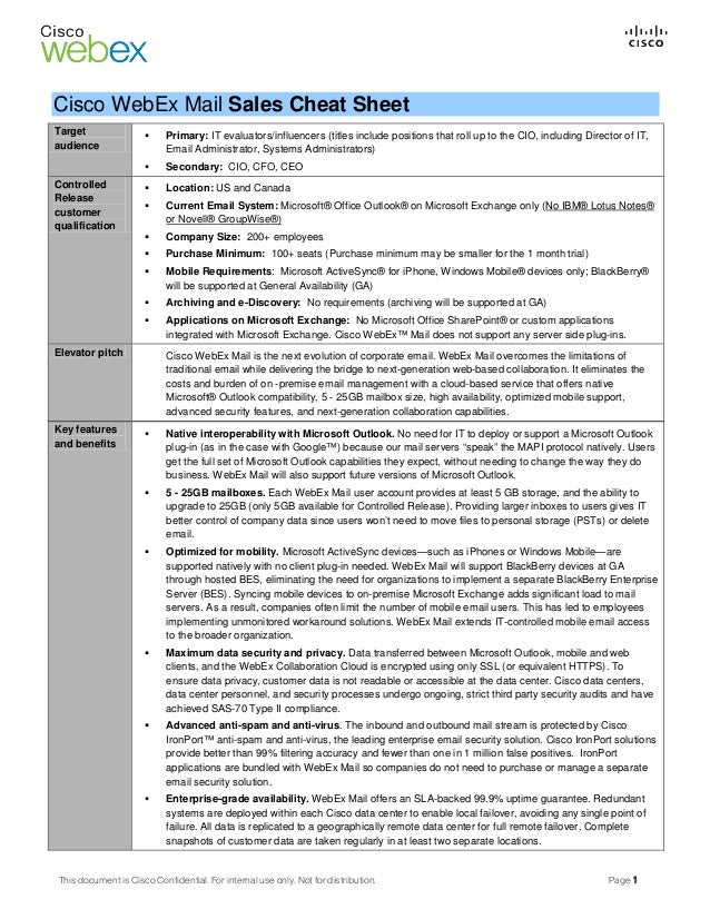 Web Ex Mail Sales Cheat Sheet Revisions