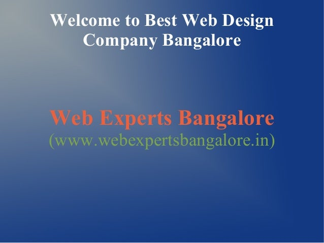 Web Experts Bangalore -leading Web Design and Development Company