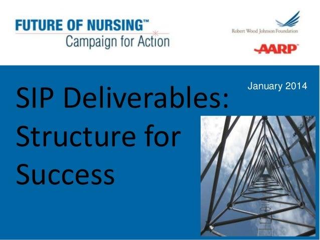 SIP Deliverables:  Structure for Success