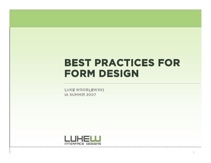Best Practices For Form Design