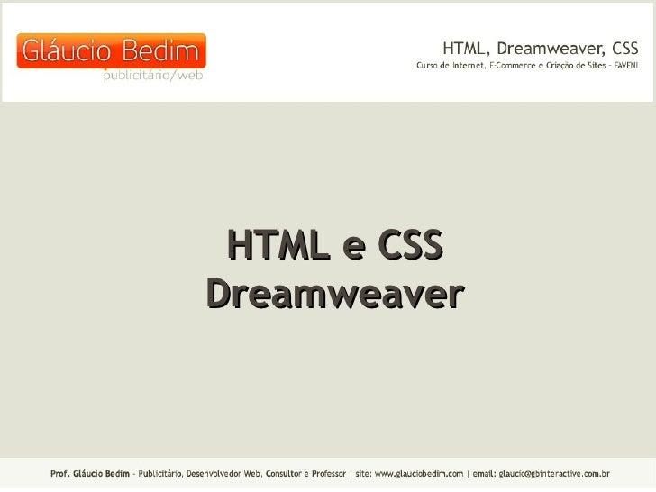 HTML e CSS Dreamweaver
