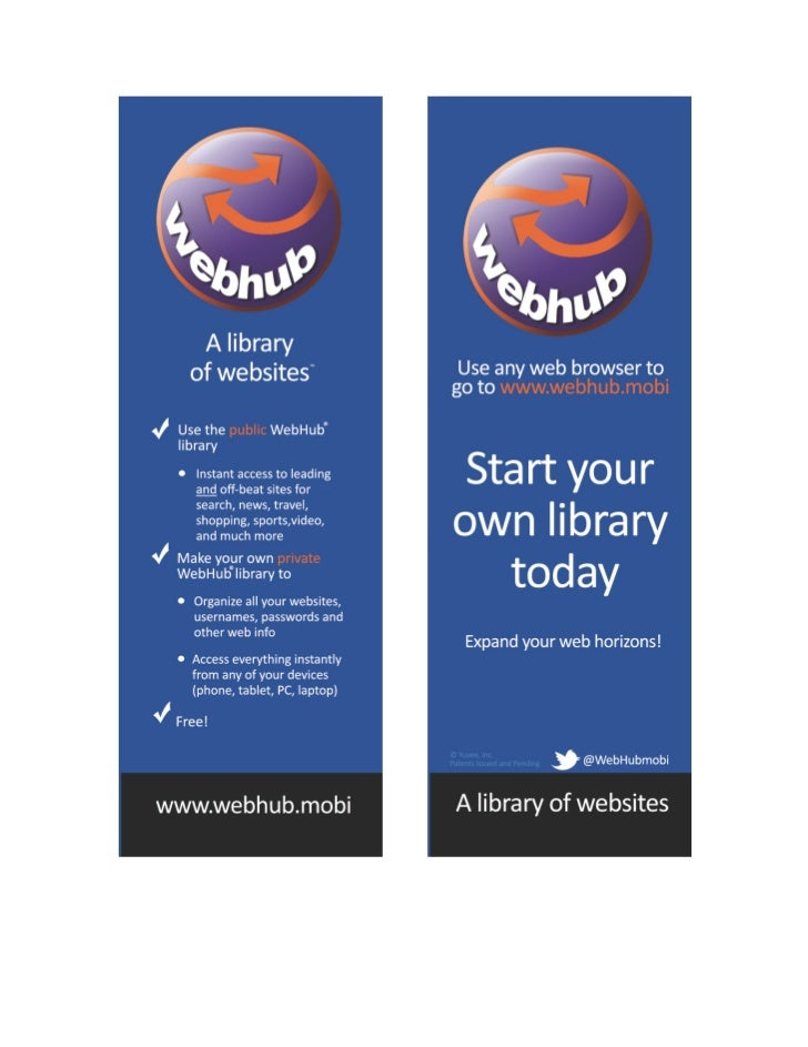 WebHub Bookmarks -  A Library of Websites - 9.2012