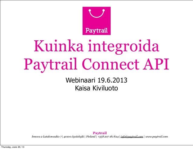 Webinaari: Kuinka integroida Paytrail Connect API?