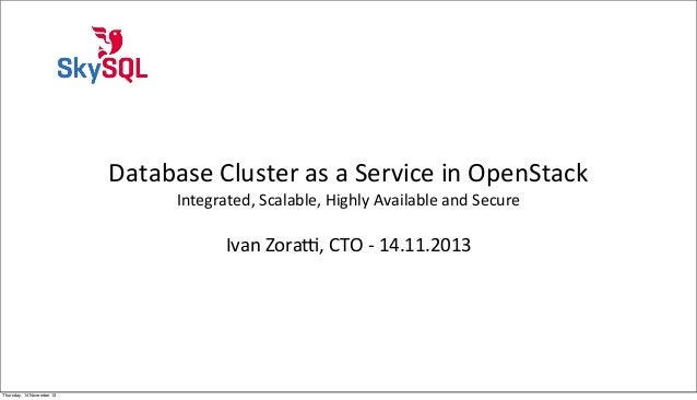 Database Cluster as a Service in OpenStack