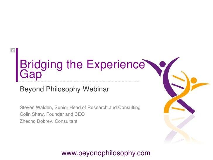 Webinar Bridging The Experience Gap