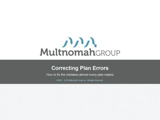 Correcting Plan Errors